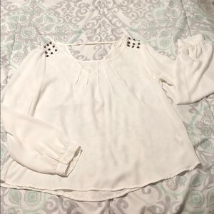 White studded flowy top